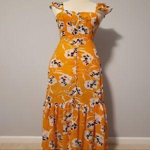 Mustard floral ruffle maxi dress